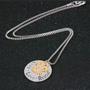 Rescue love paw necklace cat dog lovers